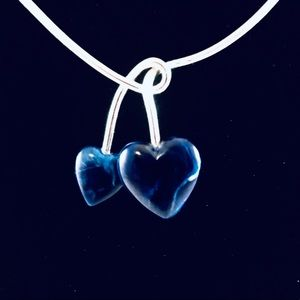 Sarah Coventry Two Blue Marble Like Heart Necklace